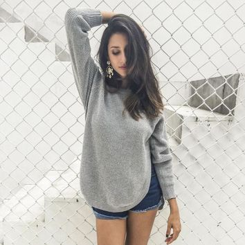 Fashion side split knitting pullover Casual winter sweater Elegant jumper