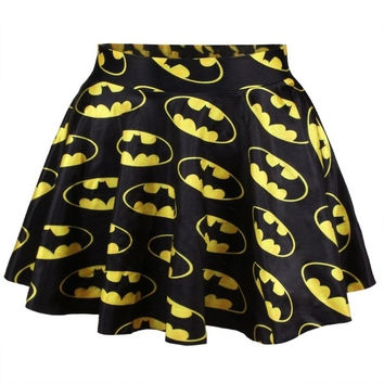 yellow skirt Batman Printed Skater Circle Skirt Dress Mini Dress = 1927917700
