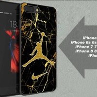 Best Nike.050 Air Jordan Gold Marble Fit Hard Case for iPhone 6 6s 7+ 8+ Cover