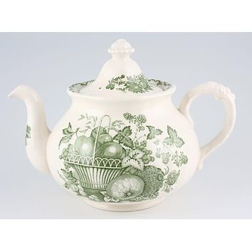 Lg Johnson Brothers Fruit Basket Cheery Green Transferware English Tea pot