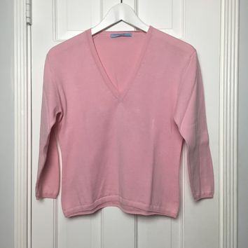 Summer by Autumn cashmere women's V neck pink sweater sz M