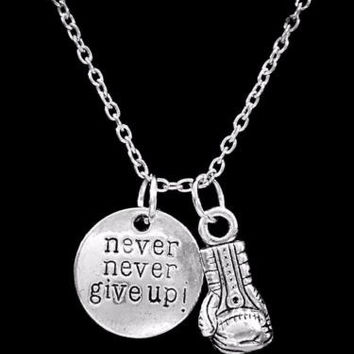 Inspirational Never Never Give Up Boxing Glove Strength Gift Crossfit Necklace