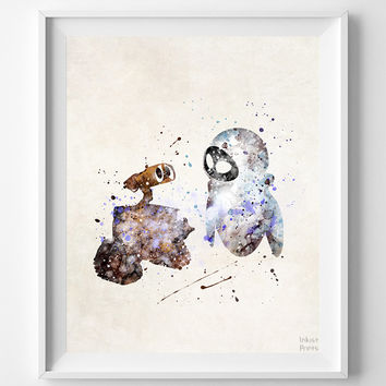 Wall E Print, Eva Watercolor Art, Disney Poster, Wedding Gift, Dorm Room Art, Nursery Wall Art, Baby Room Decor, Halloween Decor