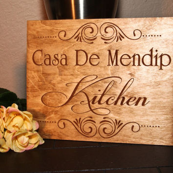 Personalized Wood Engraved Home Street Name Kitchen Sign ~ Wedding, Anniversary, Gift for Her, Mother's Day