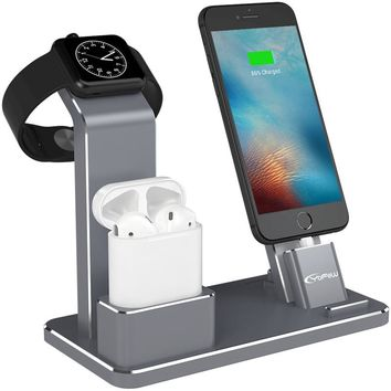 YFW Airpods Stand Bracket 4 in 1 AirPods Accessories Charging Dock Phone Stand for iWatch Series 2/1/iPhone 7/7Plus/6s Plus/5s