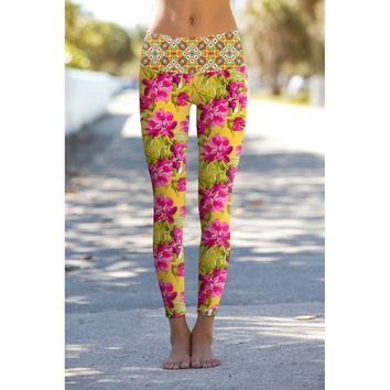 Indian Summer Lucy Yellow Floral Printed Performance Yoga Pants - Women