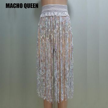 Holographic High Waisted Sequin Skirt
