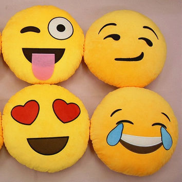 Cute Plush Round Pillow Sofa Soft Cushion  Emoji Cartoon Pillows Decoration for home