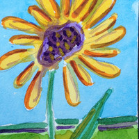 Original watercolor ACEO of a Yellow Flower