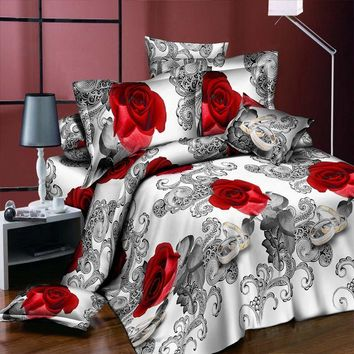 2017 New Apple Green 3D Leaf print Bedding Sets Cotton Fabric Duvet Cover Pillowcase Bed Sheets Bedroom Set for Queen Size Bed
