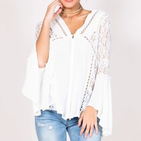 Castaway top in white Produced By SHOWPO