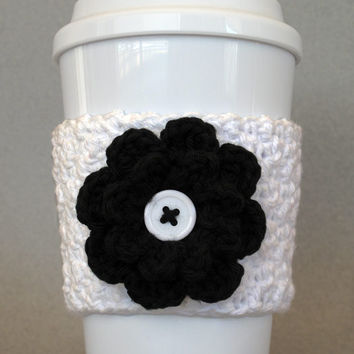 Crochet Flower Coffee Cup Cozy Black and White