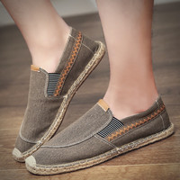 FOORAABO Summer Breathable Footwear Men's Flat Canvas Shoes Hemp Lazy Flats For Men Cheap Moccasins Men Loafers Driving Shoes