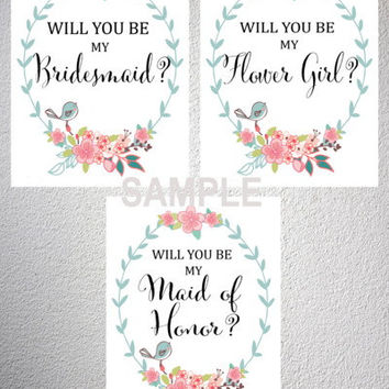 Will You Be My Bridesmaid, Maid Of Honor, Flower Girl? Printable Floral Print Bridal Party Card Set, DIY Wedding, INSTANT DOWNLOAD