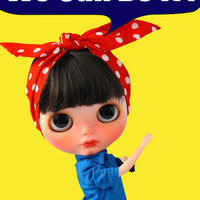 "PO - Blythe Doll Dress - SUPABONBON - ""We can do it"" America 60s Retro Serie - Long Sleeve Blue Blouse With Dots Hair Belt"