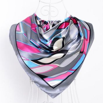 STYLEDOME Silk Scarf Satin Square Scarves Wraps with Geometric Pattern