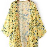 Yellow Split Side Flowers Print Cardigan Kimono