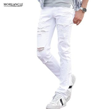 MORUANCLE Mens White Ripped Jeans Pants With Holes Super Skinny Slim Fit Destroyed Distressed Denim Joggers Trousers For Male