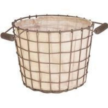 Panacea Products - Rustic Woven Wire Bushel Basket With Burlap Liner