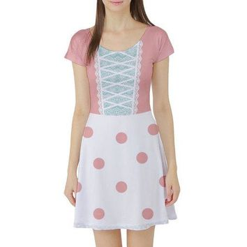 Bo Peep Toy Story Inspired Short Sleeve Skater Dress