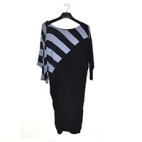 Vintage 80s Batwing Dress Black Gray Grey Striped V-Neck Medium M 1980s