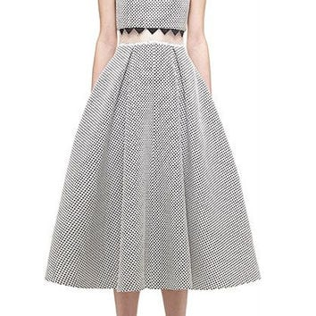 Sleeveless Scalloped Collar Mesh Midi Skater Dress
