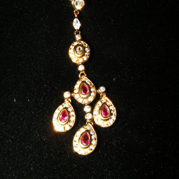Simulated Ruby & Diamond Rhodium Plated Sterling Silver Pendant