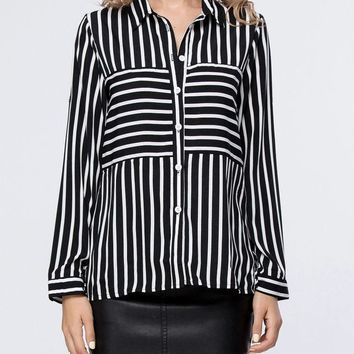 Casual Turn Down Collar Striped Roll-Up Sleeve Blouse