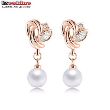 LZESHINE Austrian Crystals Flower Earrings For Women