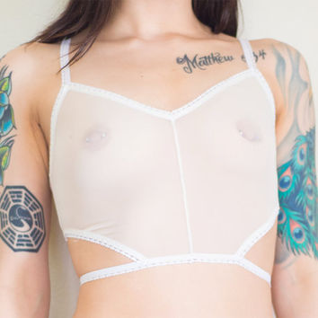 Sweet Tooth Sheer Longline Cutout Bralette - White