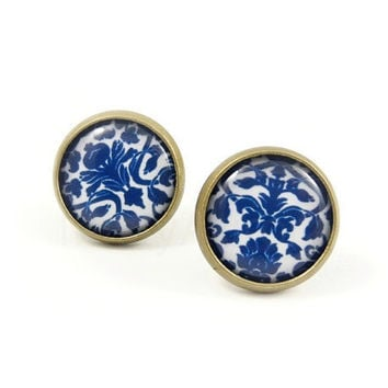 Blue White Damask Earring Studs - Floral Earring Posts - Jacquard Pattern Jewelry