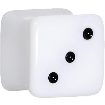 "1/2"" White Acrylic Square Dice Saddle Plug"