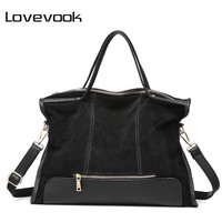 LOVEVOOK brand fashion female shoulder bag high quality patchwork split leather retro handbag ladies tote bag for office work