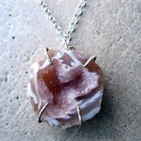 geode half pendant with heart shaped druzy, prong set in sterling silver