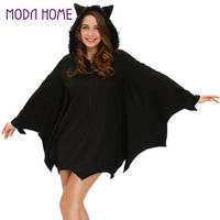 Women Halloween Bat Costume Dress Hooded Zipper Long Sleeve CosPlay Sexy Adult Uniform Mini Dress Black Deguisement Adultes