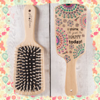 Be Happy Today Wooden Hair Brush