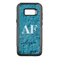 Monogram large bold letters on light blue wall OtterBox commuter samsung galaxy s8+ case