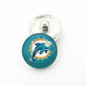 10pcs/lot Miami Dolphins Football Team Snap Button Charms DIY 18mm Snaps Bracelets Necklace Snap Jewelry Accessories