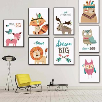 Nursery art / decor - Canvas painting / Poster print - Free Shipping - Nordic Cartoon Animals