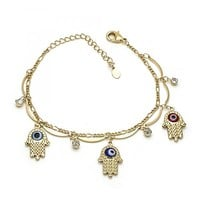 Gold Layered Charm Bracelet, Greek Eye and Hand Design, with Cubic Zirconia, Gold Tone