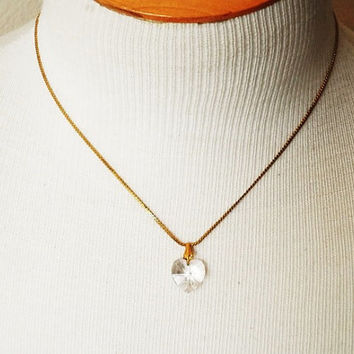Vintage 80's Crystal Heart Pendant with Gold Chain Choker Necklace