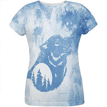 Distressed Blue Howling Wolf Silhouette All Over Womens T Shirt