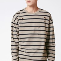 PacSun Sherman Striped Destroyed Long Sleeve Relaxed T-Shirt at PacSun.com