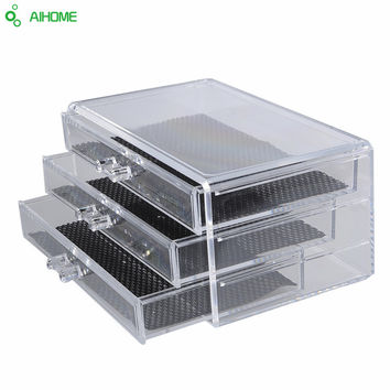 3 Drawer Makeup Organizer Storage Box Case Cosmetic Jewelry Cases Holder Clear Plastic Acrylic Makeup Rangement Desktop Supplies