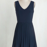 Americana Mid-length Sleeveless A-line Personal Essayist Dress in Navy
