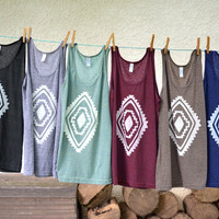 Tank Top - Dark Blue with White Diamond
