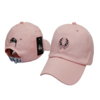 Sweet Pink Stussy Embroidered Baseball Cap Hat