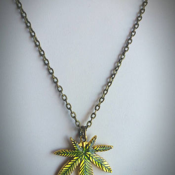 Marijuana Leaf Weed Necklace - 420 Jewelry on Bronze Chain