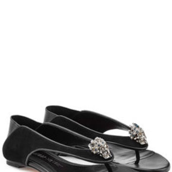 Embellished Leather Sandals - Alexander McQueen | WOMEN | US STYLEBOP.com