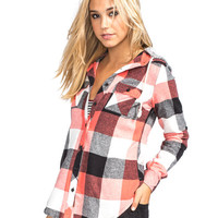 Full Tilt Buffalo Womens Hooded Flannel Shirt Coral Combo  In Sizes